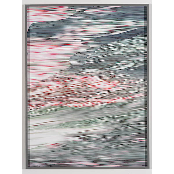 ANNA VOGEL<br/>Electric Mountains IX, 2020, pigment print, varnish, scratched, 80 x 60 cm, unique