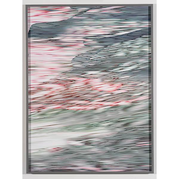 ANNA VOGEL<br/>Electric Mountains IX, 2020, pigment print, varnish, scratched, 80 x 60 cm, unique