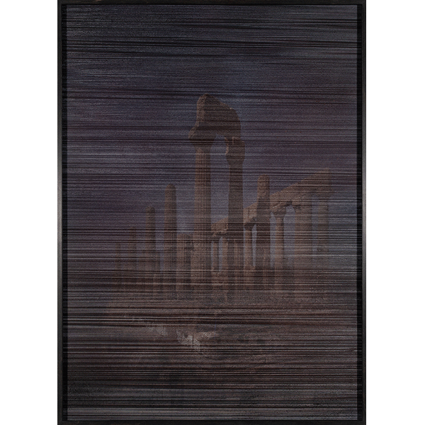 ANNA VOGEL<br/>Temples III, 2018, varnish on pigment print, scratced, 110 x 80 cm, unique