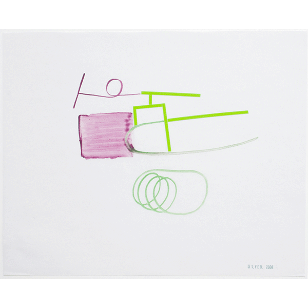 MONIKA BRANDMEIER<br/>Grüner Reiter, 2007, watercolor on waxed paper, 24 x 29, 4 cm