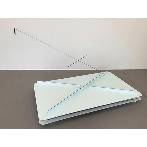 MONIKA BRANDMEIER<br/>Spule, 2015, alubond, acrylic paint, rope, nails, 113 x 270 x 208 cm