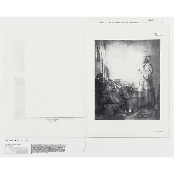 JANA GUNSTHEIMER<br/>Methods of Destruction: Woman With Pearl, 2012, Necklace (Vermeer), graphite on paper, hot type, 91  x 113 cm, framed