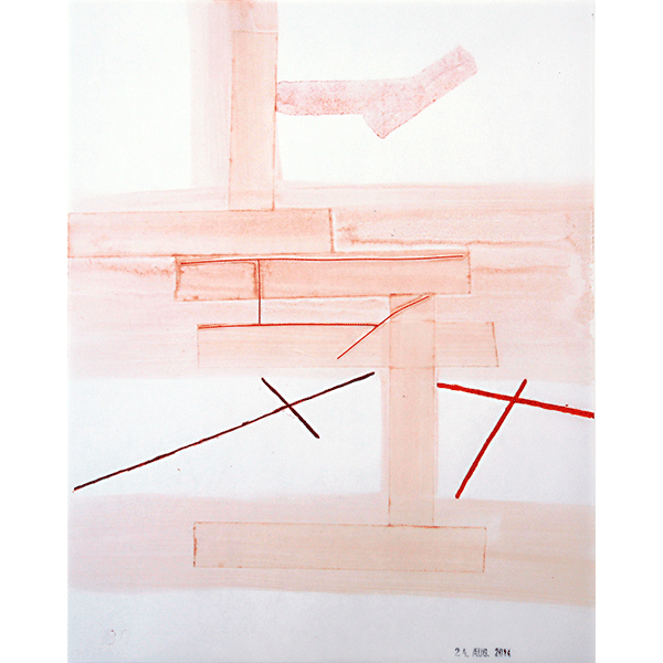 MONIKA BRANDMEIER<br/>Untitled 24 Aug 2014 (Rotraum), 2014, oil, colour pencil, tape on waxed paper, 30 x 24 cm