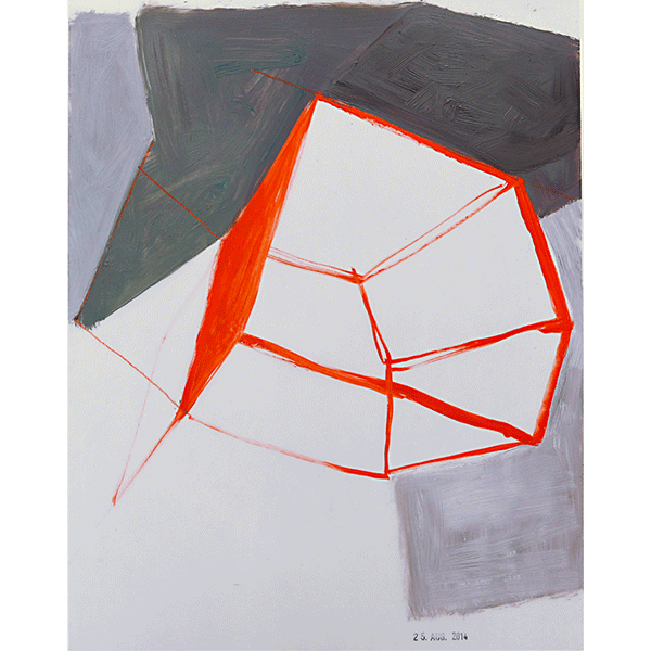 MONIKA BRANDMEIER<br/>Untitled 25 Aug 2014 (Raum + Grau), 2014, oil on waxed paper, 30 x 24 cm