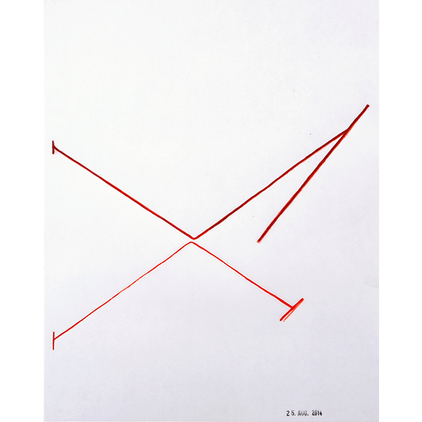MONIKA BRANDMEIER<br/>Untitled 25 Aug 2014 (keinkreuz Gestell), 2014, oil, colour pencil on waxed paper, 30 x 24 cm