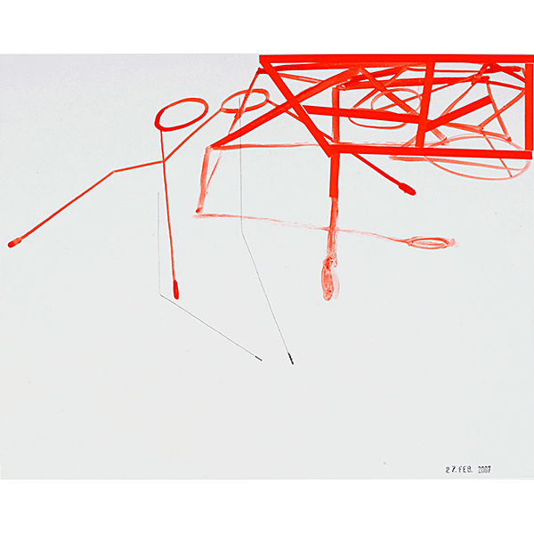 MONIKA BRANDMEIER<br/>rotes Fachwerk, 2007, watercolor on waxed paper, 24 x 29,4 cm