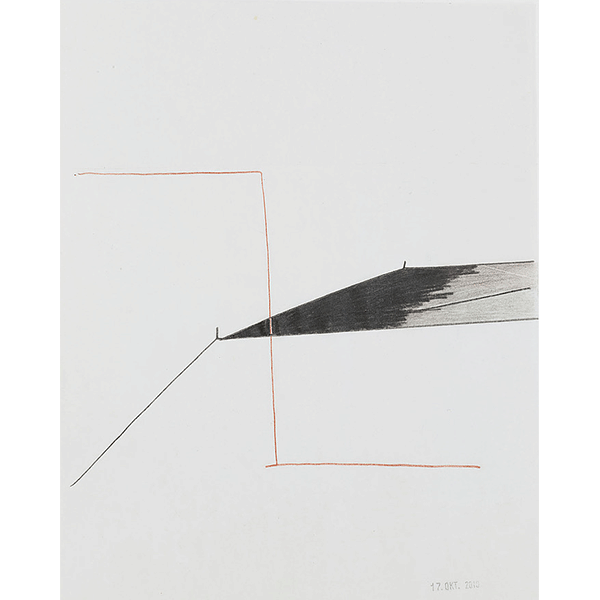 MONIKA BRANDMEIER<br/>Untitled 17. Oktober 2010, gouache, color pencil on folded paper, 29,6 x 23,5 cm