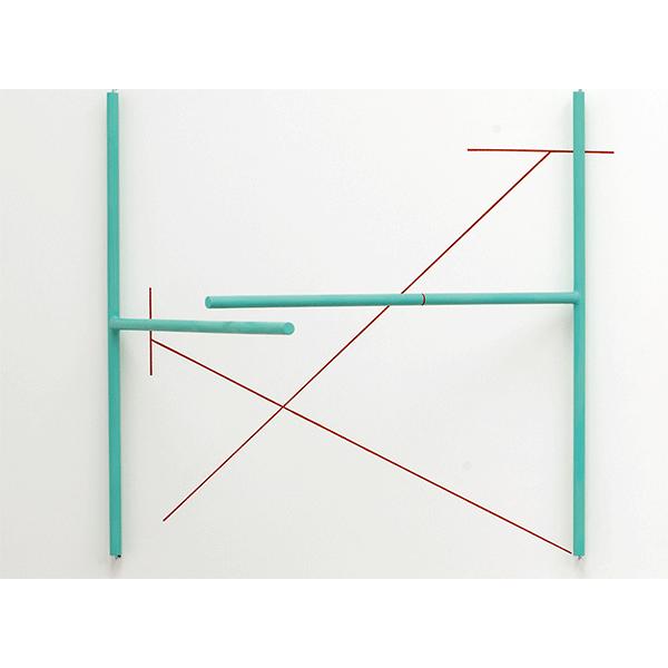 MONIKA BRANDMEIER<br/>2 T + X, 2015, wood, hooks, enamel, acrylic paint, 101 x 107 x 99 cm