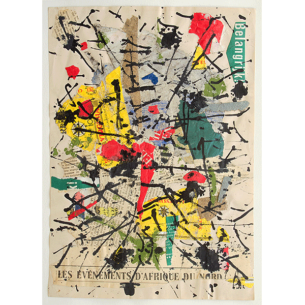 herman de vries<br/>24 jul 60, 1960, collage trouvé, 30 x 21,2 cm