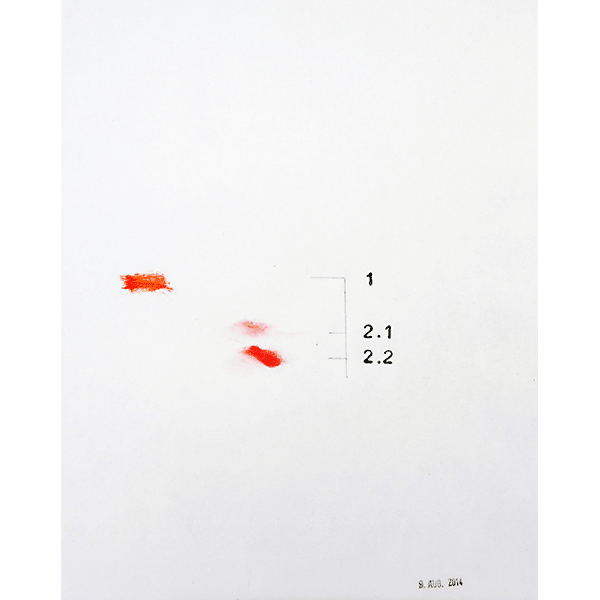 MONIKA BRANDMEIER<br/>Untitled 9 Aug 2014 (1 und 2), 2014, oil, graphite on waxed paper, 30 x 24 cm