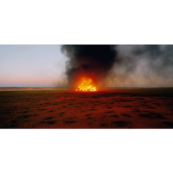 ROSEMARY LAING<br/>burning Ayer 7 L, 2003, c-print mounted and framed, 100 x 224 cm, ed. 3