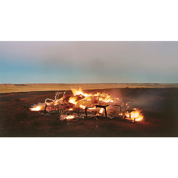 ROSEMARY LAING<br/>burning Ayer 12, 2003, c-print mounted and framed, 98 x 166 cm, ed. 10