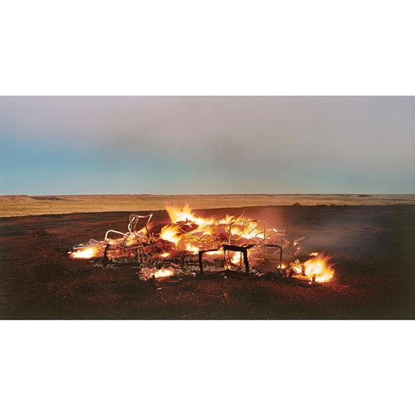 ROSEMARY LAING<br/>burning Ayer 12, 2003, c-print mounted and framed, 98 x 166 cm, ed. 10