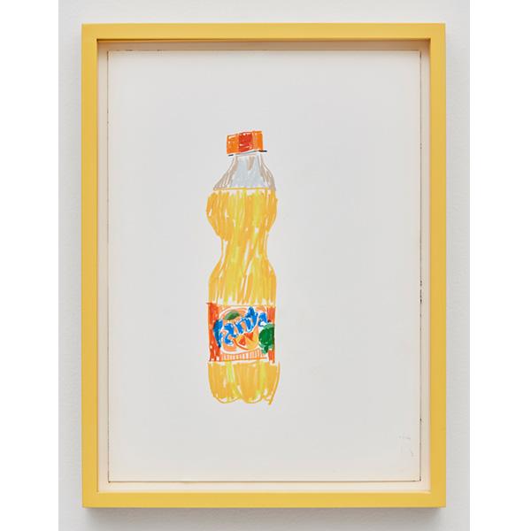 GUY YANAI<br /> Bottle Of Fanta, 2017, color pencil, hot pressed paper, framed, 26 x 36 cm