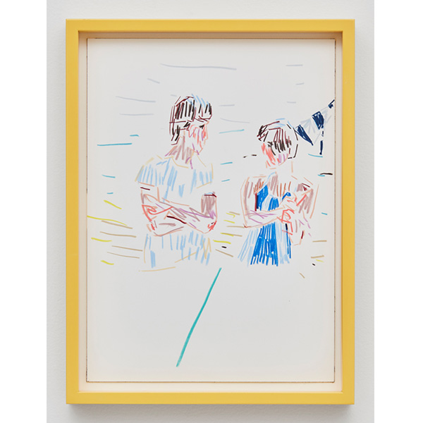 GUY YANAI<br /> Couple Walking, 2017, color pencil, hot pressed paper, framed, 26 x 36 cm