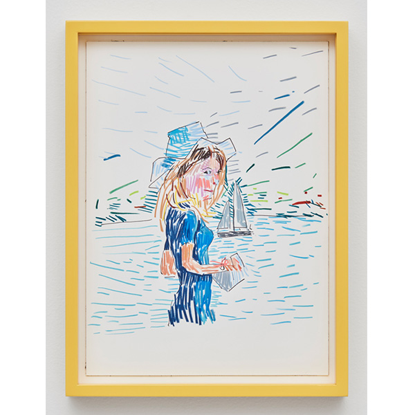GUY YANAI<br /> French Lady in Switzerland, 2017, color pencil, hot pressed paper, framed, 26 x 36 cm
