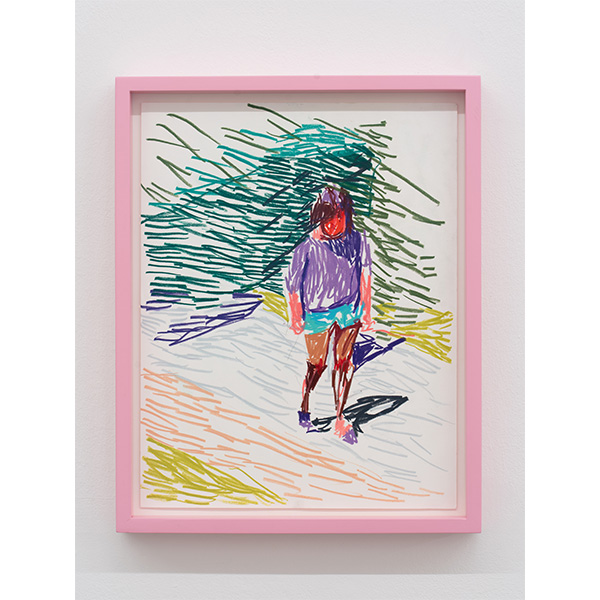 GUY YANAI<br /> Adrien Outside, 2019, color pencil, hot pressed paper, framed, 28 x 36 cm
