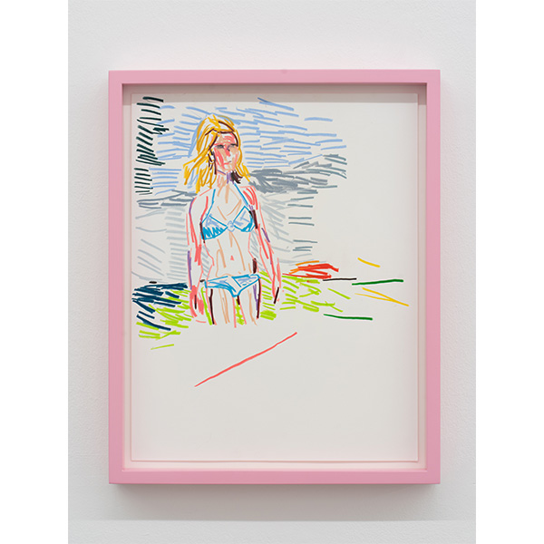 GUY YANAI<br /> Claire in Front of Lake, 2019, color pencil, hot pressed paper, framed, 28 x 36 cm