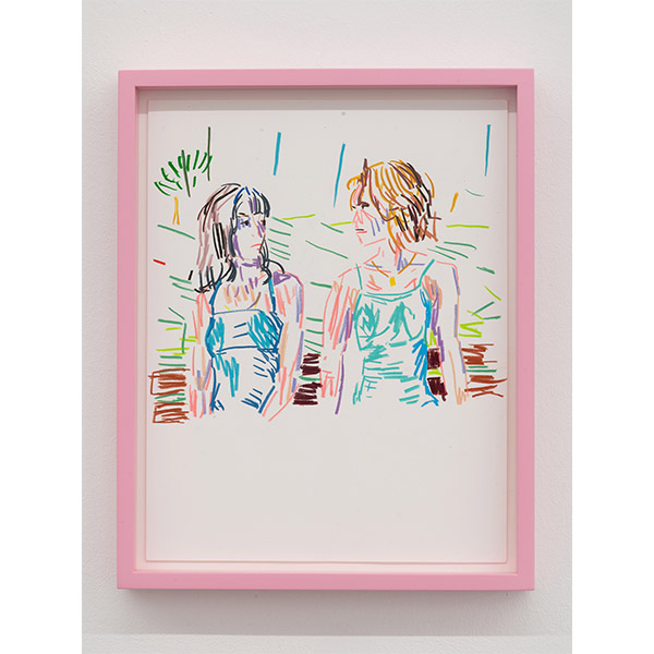 GUY YANAI<br /> Two Women, 2019, color pencil, hot pressed paper, framed, 28 x 36 cm