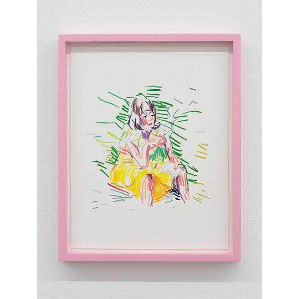 GUY YANAI<br /> Woman Smoking, 2019, color pencil, hot pressed paper, framed, 28 x 36 cm