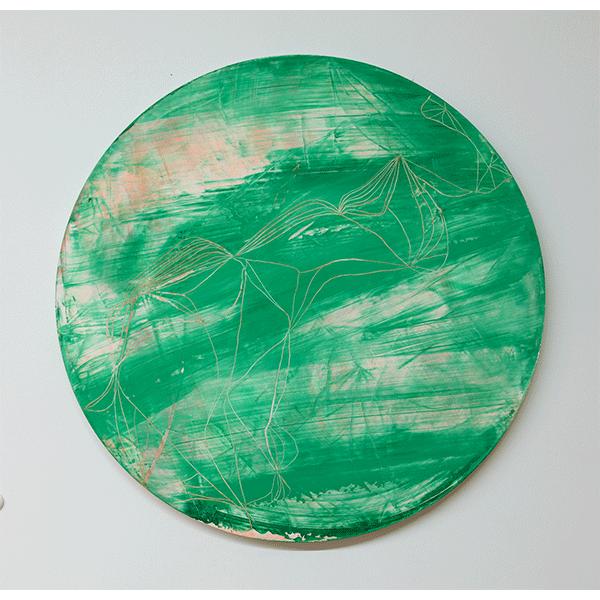 OLAV CHRISTOPHER JENSSEN<br/>From the Bigger Infinitive, 2018, acrylic on Alubond, Ø90 cm