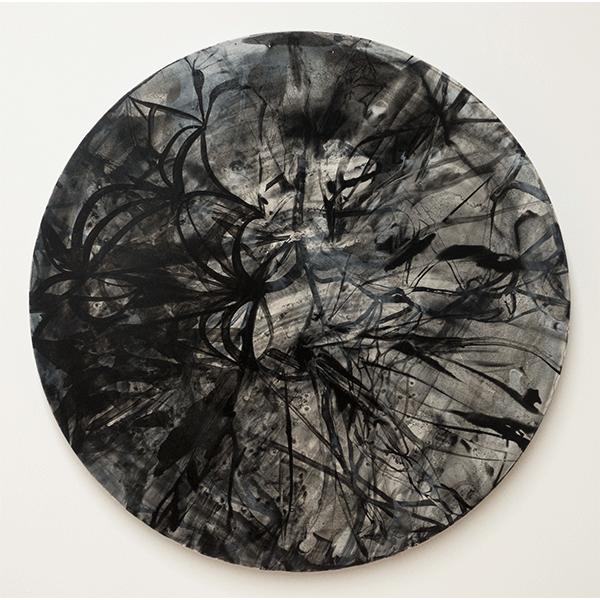 OLAV CHRISTOPHER JENSSEN<br/>From the Bigger Infinitive  (black), 2018, acrylic on Alubond, Ø90 cm