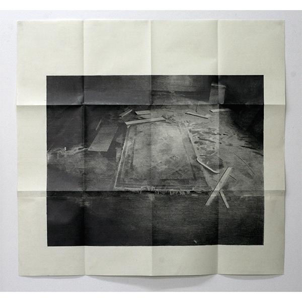 JANA GUNSTHEIMER<br/>Letter #1, 2012, pencil on paper, folded, 94,5 x 98 cm