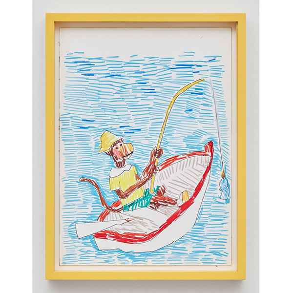 GUY YANAI<br /> Monkey In Boat, 2017, color pencil, hot pressed paper, framed, 26 x 36 cm