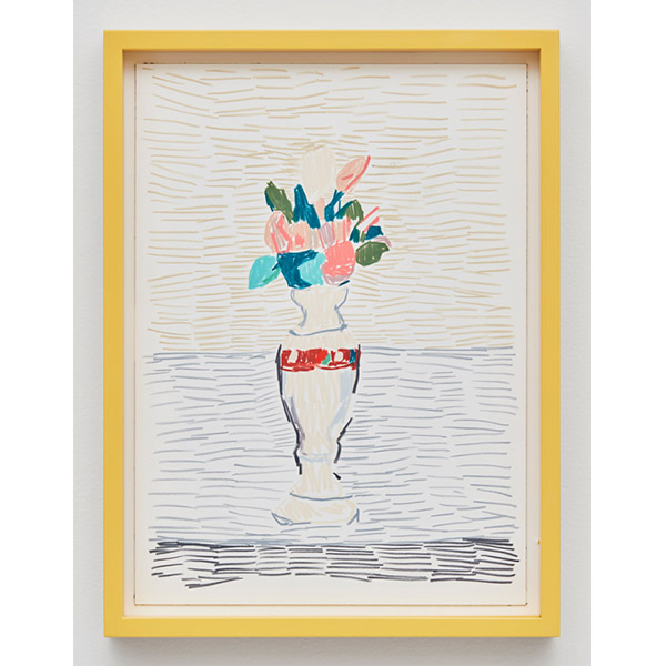 GUY YANAI<br /> Morandi Flowers, 2017, color pencil and ink, hot pressed paper, framed, 26 x 36 cm