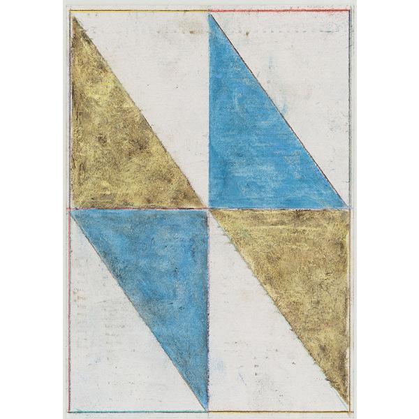 PIUS FOX</br>PF 17-045 (ohne Titel), 2018, oil crayon on paper, 24,5 x 17,3 cm, framed