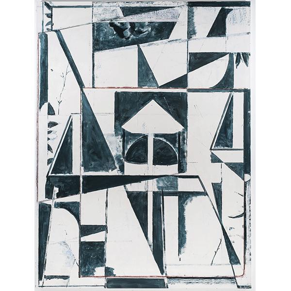 PIUS FOX</br>PF 18-075 Seidenweberei, 2018, egg tempera on canvas, 200 x 150 cm