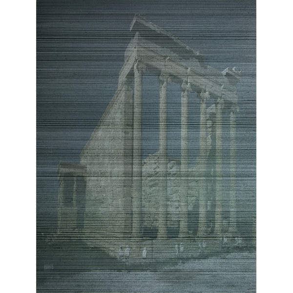 ANNA VOGEL<br/>Temples IX, 2018, varnish on pigment print, scratched, 40 x 30 cm