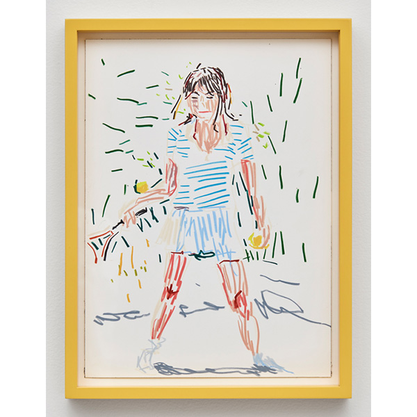 GUY YANAI<br /> Woman Playing Tennis, 2017, color pencil, hot pressed paper, framed, 26 x 36 cm