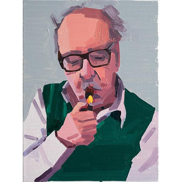 GUY YANAI<br />Jean-Luc Godard (Instagram Live), 2020, oil on canvas, 40 x 30 cm