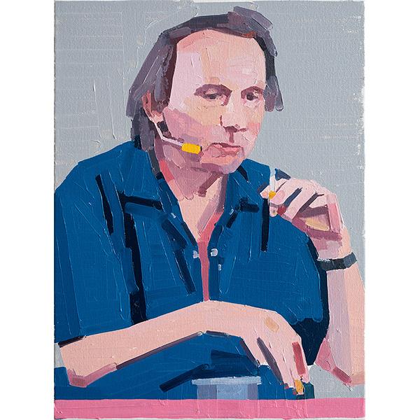 GUY YANAI<br />Michel Houellebecq, 2020, oil on canvas, 40 x 30 cm