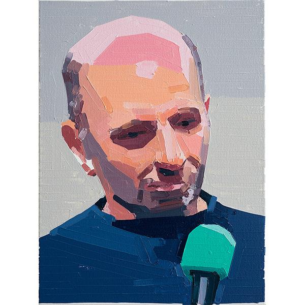 GUY YANAI<br />Peter Doig (Danish Microphone), 2020, oil on canvas, 40 x 30 cm