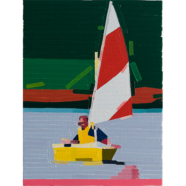 GUY YANAI<br />Yellow Boat, 2018, oil on canvas, 40 x 30 cm