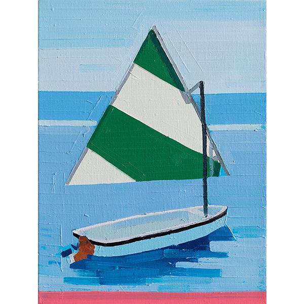 GUY YANAI<br /> Boat Alone, 2018, oil on linen, 40 x 30 cm
