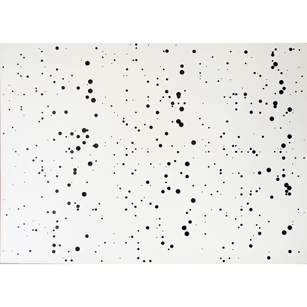 herman de vries<br/>random – dots in space, 1973, ink on board, 73 x 102 cm