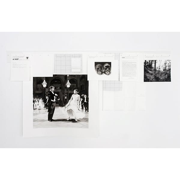 JANA GUNSTHEIMER<br/>SBK: Staatliche Behörde zur Kanonisation # 1137, 2008, wood, watercolour on paper, 100 x 180 cm, 10 parts