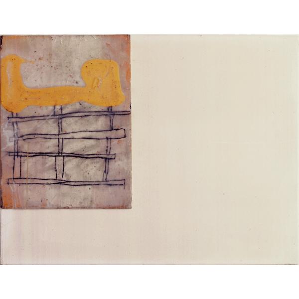 OLAV CHRISTOPHER JENSSEN<br/>Territorium: Antiquariat, 1998, acrylic, wax on wood on canvas, 32 x 42 cm
