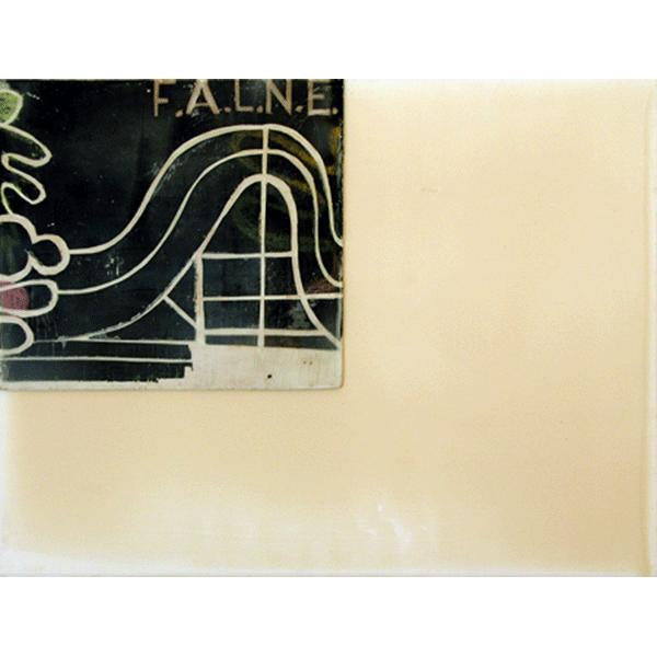 OLAV CHRISTOPHER JENSSEN<br/>Territorium: Alibi, 1999, acrylic, wax on wood on canvas, 32 x 42 cm