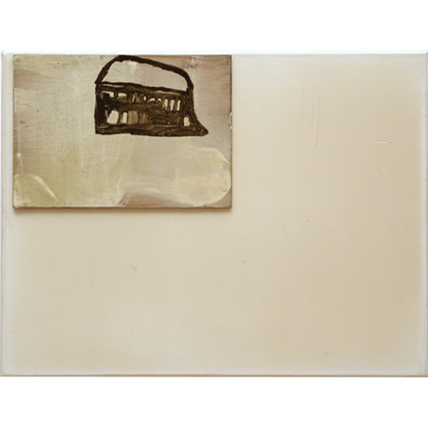 OLAV CHRISTOPHER JENSSEN<br/>Territorium: House, 1998, acrylic, wax on wood on canvas, 32 x 42 cm
