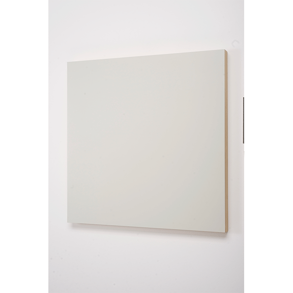MARCIA HAFIF<br/>Red Paintings: CWS Papyrusweiss 1990, enamel on Wood, 80 x 80 cm