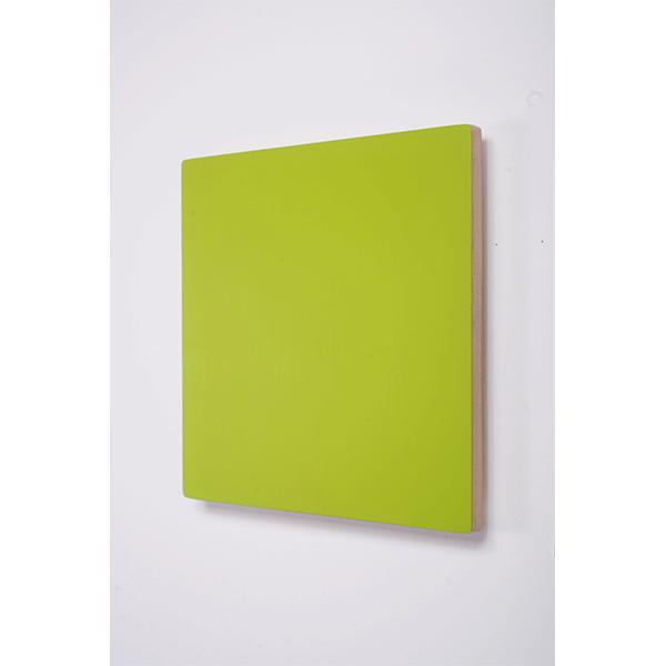 MARCIA HAFIF<br/>Red Paintings: Meisterpreis Mai Grün, 1990, enamel on Plywood, 40,5 x 40,5 cm