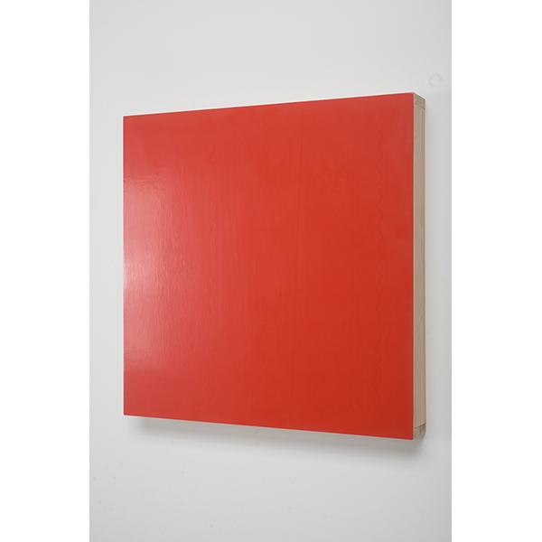 MARCIA HAFIF</br>Vermilion, 1993, enamel on Wood, 63 x 63 x 7,5 cm
