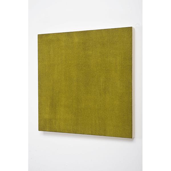 MARCIA HAFIF<br/>Glaze Painting: Burnt Green Earth, 1992, oil on canvas, 56 x 56 cm