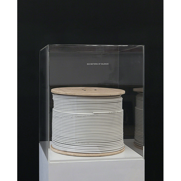 mounir fatmi<br/>500 Meters of Silence, 2008, antenna wire, wood on plint with plexi cover, 45 x 45 x 156 cm