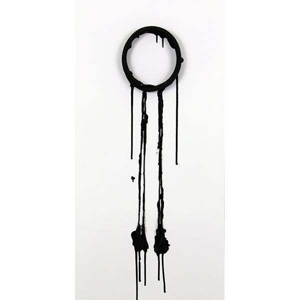 mounir fatmi<br/>Oil (06), 2012, agal string dripped in black paints, 100 x 50 cm