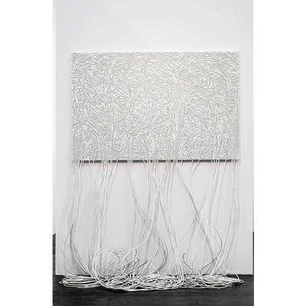 mounir fatmi<br/>Roots X, 2018, cable on wood, 150 x 225 cm, unique